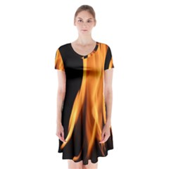 Fire Flame Pillar Of Fire Heat Short Sleeve V Neck Flare Dress by Nexatart