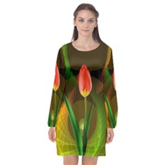 Tulip Flower Background Nebulous Long Sleeve Chiffon Shift Dress