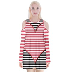 Heart Stripes Symbol Striped Velvet Long Sleeve Shoulder Cutout Dress by Nexatart