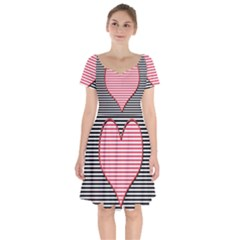 Heart Stripes Symbol Striped Short Sleeve Bardot Dress by Nexatart
