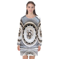 Flat Tire Vehicle Wear Street Long Sleeve Chiffon Shift Dress