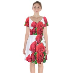 A Bouquet Of Roses On A White Background Short Sleeve Bardot Dress by Nexatart