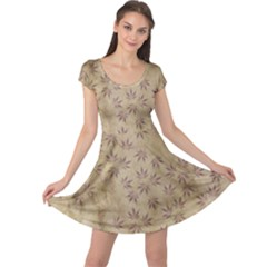 Parchment Paper Old Leaves Leaf Cap Sleeve Dresses