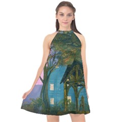 Background Forest Trees Nature Halter Neckline Chiffon Dress