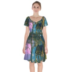 Background Forest Trees Nature Short Sleeve Bardot Dress