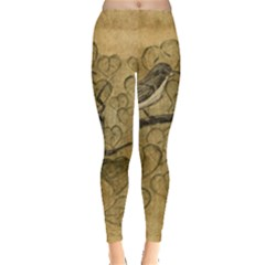 Birds Figure Old Brown Leggings  by Nexatart