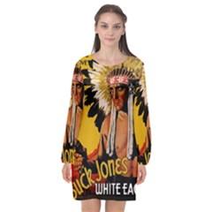 White Eagle Long Sleeve Chiffon Shift Dress