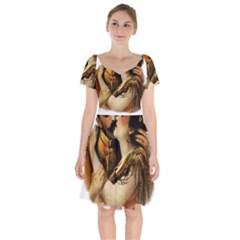 Carmen Short Sleeve Bardot Dress by Valentinaart