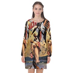 The War Of Wealth Long Sleeve Chiffon Shift Dress