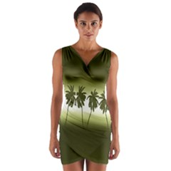Tropical Sunset Wrap Front Bodycon Dress by Valentinaart