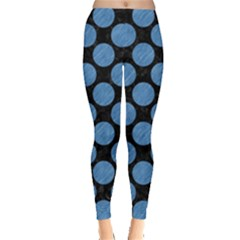 Circles2 Black Marble & Blue Colored Pencil Leggings  by trendistuff