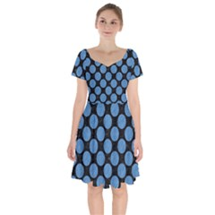 Circles2 Black Marble & Blue Colored Pencil Short Sleeve Bardot Dress by trendistuff