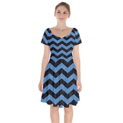 Chevron3 Black Marble & Blue Colored Pencil Short Sleeve Bardot Dress by trendistuff