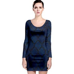 Tile1 Black Marble & Blue Grunge (r) Long Sleeve Bodycon Dress by trendistuff