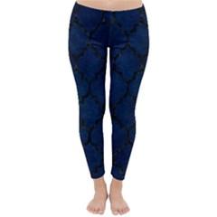 Tile1 Black Marble & Blue Grunge (r) Classic Winter Leggings by trendistuff
