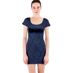 Tile1 Black Marble & Blue Grunge (r) Short Sleeve Bodycon Dress by trendistuff