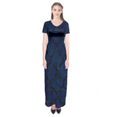 Tile1 Black Marble & Blue Grunge (r) Short Sleeve Maxi Dress by trendistuff