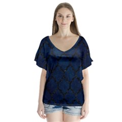Tile1 Black Marble & Blue Grunge (r) V Neck Flutter Sleeve Top by trendistuff