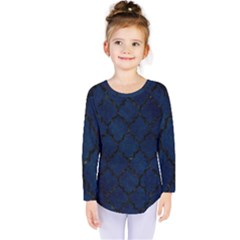 Tile1 Black Marble & Blue Grunge (r) Kids  Long Sleeve Tee by trendistuff