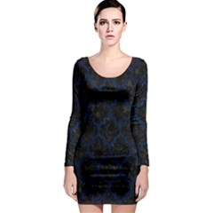Tile1 Black Marble & Blue Grunge Long Sleeve Bodycon Dress by trendistuff