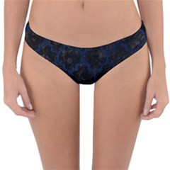 Tile1 Black Marble & Blue Grunge Reversible Hipster Bikini Bottoms by trendistuff