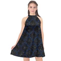 Tile1 Black Marble & Blue Grunge Halter Neckline Chiffon Dress  by trendistuff