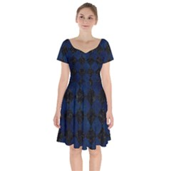 Square2 Black Marble & Blue Grunge Short Sleeve Bardot Dress by trendistuff