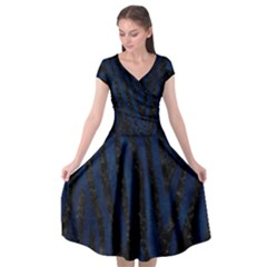 Skin4 Black Marble & Blue Grunge (r) Cap Sleeve Wrap Front Dress by trendistuff
