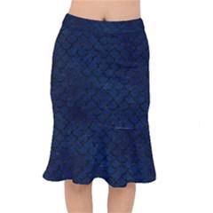 Scales1 Black Marble & Blue Grunge (r) Short Mermaid Skirt by trendistuff