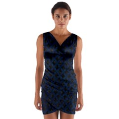 Circles3 Black Marble & Blue Grunge Wrap Front Bodycon Dress by trendistuff