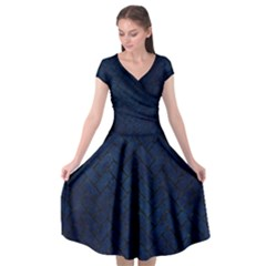 Brick2 Black Marble & Blue Grunge (r) Cap Sleeve Wrap Front Dress by trendistuff