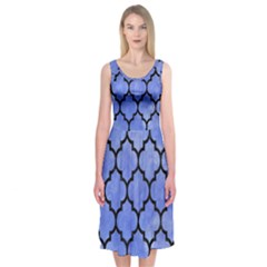 Tile1 Black Marble & Blue Watercolor (r) Midi Sleeveless Dress by trendistuff