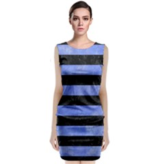 Stripes2 Black Marble & Blue Watercolor Classic Sleeveless Midi Dress by trendistuff