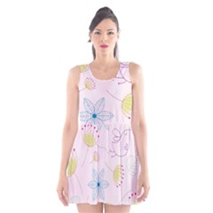 Pretty Summer Garden Floral Bird Pink Seamless Pattern Scoop Neck Skater Dress by Nexatart