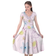 Pretty Summer Garden Floral Bird Pink Seamless Pattern Cap Sleeve Wrap Front Dress