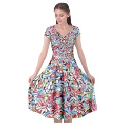 Lovely Floral 31f Cap Sleeve Wrap Front Dress by MoreColorsinLife