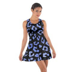 Skin5 Black Marble & Blue Watercolor (r) Cotton Racerback Dress by trendistuff