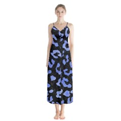 Skin5 Black Marble & Blue Watercolor (r) Button Up Chiffon Maxi Dress by trendistuff