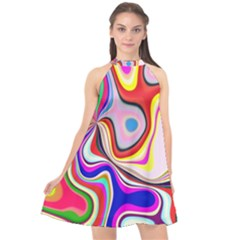 Colourful Abstract Background Design Halter Neckline Chiffon Dress  by Nexatart