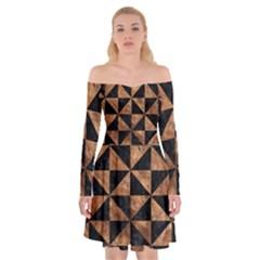 Triangle1 Black Marble & Brown Stone Off Shoulder Skater Dress by trendistuff