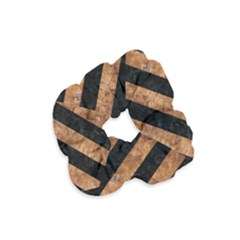 Stripes3 Black Marble & Brown Stone Velvet Scrunchie