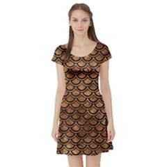 Scales2 Black Marble & Brown Stone (r) Short Sleeve Skater Dress by trendistuff