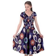 Cute Birds Seamless Pattern Cap Sleeve Wrap Front Dress by Nexatart