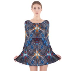 Fancy Fractal Pattern Background Accented With Pretty Colors Long Sleeve Velvet Skater Dress