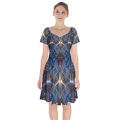 Fancy Fractal Pattern Background Accented With Pretty Colors Short Sleeve Bardot Dress