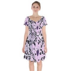 Floral Pattern Background Short Sleeve Bardot Dress