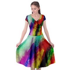 Colorful Abstract Paint Splats Background Cap Sleeve Wrap Front Dress