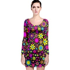 Bright And Busy Floral Wallpaper Background Long Sleeve Bodycon Dress