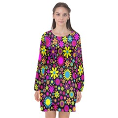 Bright And Busy Floral Wallpaper Background Long Sleeve Chiffon Shift Dress