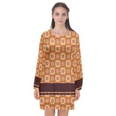 Floral Seamless Pattern Vector Long Sleeve Chiffon Shift Dress  by Nexatart